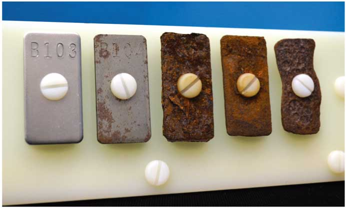 使用Q-FOG循环腐蚀盐雾试验箱试验后的样品